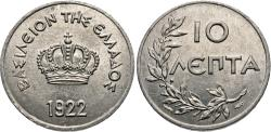 World Coins - Greece. 1922-(p). 10 lepta. Choice BU.