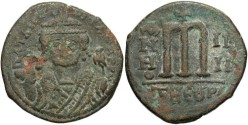 Ancient Coins - Maurice Tiberius. 582-602. Æ follis. Antioch. Fine, green patina, pit on obverse.