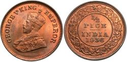 World Coins - British India. George V. 1936. 1/2 pice. Gem BU.