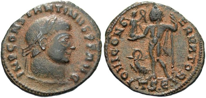 Ancient Coins - Constantine I. A.D. 307/10-337. Æ follis. Thessalonica. VF, earthen brown patina.