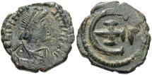 Ancient Coins - Justinian I. Æ pentanummium. Good Fine, dark green patina.