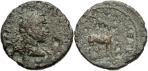 Ancient Coins - Syria, Coele-Syria. Damascus. Volusian. A.D. 251-253. Æ. Fine, pitted brown surfaces.