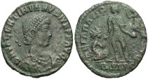 Ancient Coins - Valentinian II. A.D. 375-392. Æ. Siscia. Fine, green and brown patina, light cleaning marks.