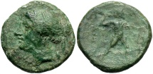 Ancient Coins - Bruttium, The Bretti. Ca. 214-211 B.C. Æ. Good Fine, green patina.