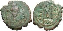 Ancient Coins - Maurice Tiberius. 582-602. Æ follis. Constantinople. Near VF, green and brown patina.