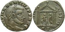 Ancient Coins - Maxentius. A.D. 306-312. Æ follis. Ticinum, A.D. 308-310. Good VF, brown patina.