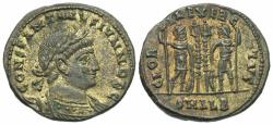 Ancient Coins - Constantine II. As Caesar, A.D. 317-337. ' follis. Alexandria, A.D. 330-335. EF, brown patina with golden-toned silvering.