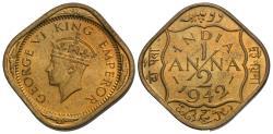 World Coins - British India. George VI. 1942-(b). 1/2 anna. BU.