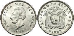 World Coins - Ecuador. 1915-BIRMm. 1/10 decimo. Gem BU.