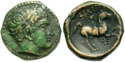 Ancient Coins - Macedonian Kingdom. Philip II. 359-336 B.C. Æ. Uncertain Macedonian mint. VF, green and tan patina.