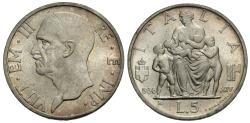 World Coins - Italy. Vittorio Emanuele III. 1936-R. 5 lire. BU, strong luster.