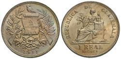 World Coins - Guatemala. 1911-(H). 1 real. Gem BU, incredible light iridescent tone and strong cartwheel luster.