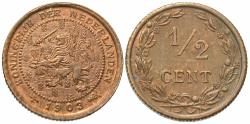 World Coins - Netherlands. Wilhelmina I. 1903. 1/2 cent. Choice Unc.