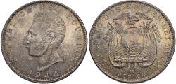 World Coins - Ecuador. 1944-Mo. 2 sucres. Unc., light toning.