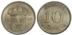 World Coins - Sweden. Gustaf V. 1928. 10 ore. Choice AU.