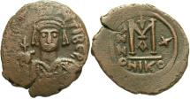 Ancient Coins - Maurice Tiberius. 582-602. Æ follis. Nicomedia, regnal year 10 (591/2). Good VF, brown patina. Sharply struck reverse.