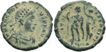 Ancient Coins - Arcadius. A.D. 383-408. Æ. Antioch. VF, thick sandy green patina.