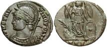 Ancient Coins - Commemorative Series. A.D. 330-354. Æ follis. Treveri. Good VF, brown patina.