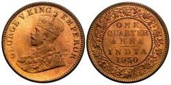 World Coins - British India. George V. 1930-(c). 1/4 anna. Choice Unc.