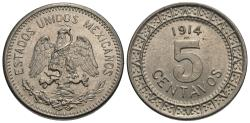 World Coins - Mexico, United States of Mexico. 1914. 5 centavos. BU.