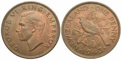 World Coins - New Zealand. George VI. 1943. 1 penny. AU.