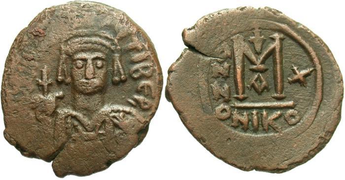 Ancient Coins - Maurice Tiberius. 582-602. Æ follis. Nicomedia, regnal year 10 (591/2). Good VF, brown patina. Sharply struck reverse.