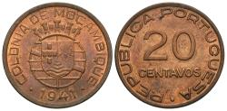 World Coins - Mozambique. 1936. 20 centavos. Unc., red and brown. One-year type.
