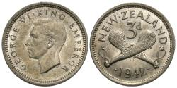World Coins - New Zealand. George VI. 1942. 3 pence. EF.