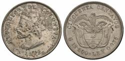 World Coins - Colombia. 1892. 50 centavos. 400th Anniversary of Columbus' Discovery of America. Choice AU.
