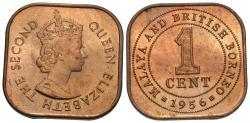 World Coins - Malaya & British Borneo. Elizabeth II. 1956. 1 cent. Choice BU, mint red.