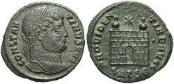 Ancient Coins - Constantine I. A.D. 307-337. Æ reduced follis. Thessalonica. Near VF.