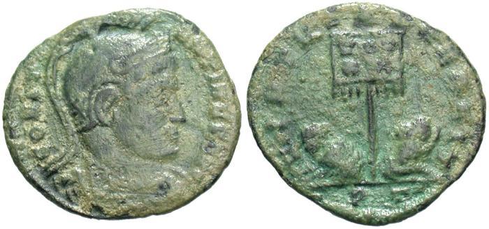 Ancient Coins - Constantine I. A.D. 307/10-337. Æ follis. Ticinum. Near VF, green patina.