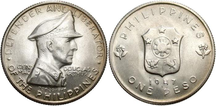 World Coins - Philippines. 1947 S. 1 Peso. BU.