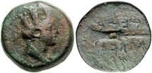 Ancient Coins - Phoenicia, Sidon. 2nd century B.C. Æ 17 mm. Near VF, green patina.