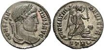 Ancient Coins - Constantine I. A.D. 307/10-337. Æ follis. Treveri, A.D. 323/4. EF, brown patina, flan crack.