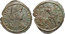 Ancient Coins - Constantius II. A.D. 337-361. Æ centenionalis. Antioch, A.D. 350-355. VF, brown surfaces, rough.