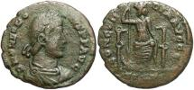 Ancient Coins - Theodosius I. A.D. 379-395. Æ. Thessalonica. Fine, olive-green and brown patina. Possibly unpublished.