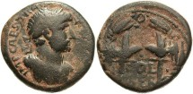 Ancient Coins - Phoenicia, Berytus. Hadrian. A.D. 117-138. Æ. Good Fine, dark brown patina with earthen deposits.