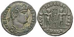Ancient Coins - Constantine I. A.D. 307/10-337. ' follis. Alexandria, A.D. 333-335. Good VF, reddish-brown patina with light silvering.