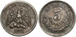 World Coins - Mexico, Second Republic. 1876/5-MoB. 5 centavos. Unc, toned.