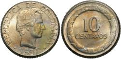 World Coins - Colombia. 1951-B. 10 centavos. BU.