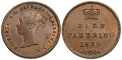 World Coins - Great Britain. Victoria. 1839. 1/2 farthing. For use in Ceylon. Unc.