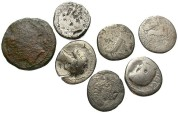 Ancient Coins - [Roman Republican and Imperatorial]. Lot of seven AR and Æ. Poor to Fair, porous and/or corroded.