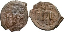 Ancient Coins - Heraclius. 610-641. Æ follis. Constantinople, regnal year 17 (626/7). Good VF, brown patina. Nice flip-over double strike with clear die details.