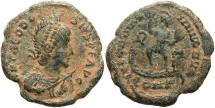 Ancient Coins - Theodosius I. A.D. 379-395. Æ 22 mm. Constantinople. Fine, earthen green patina. A very heavy specimen.