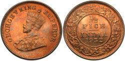 World Coins - British India. George V. 1932. 1/2 pice. Gem BU.