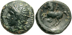 Ancient Coins - Macedonian Kingdom. Philip II. 359-336 B.C. Æ. Uncertain Macedonian mint. VF, black patina, minor roughness.