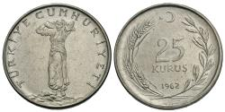 World Coins - Turkey. 1962. 25 kurus. BU, stainless steel issue.