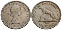 World Coins - Rhodesia and Nyasaland. Elizabeth II. 1957. 6 pence. Gem BU.
