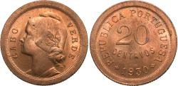 World Coins - Cape Verde. 1930. 20 centavos. BU, red and lustrous.